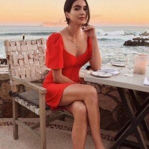 Zara Linen Red Puff Sleeve Dress Size S